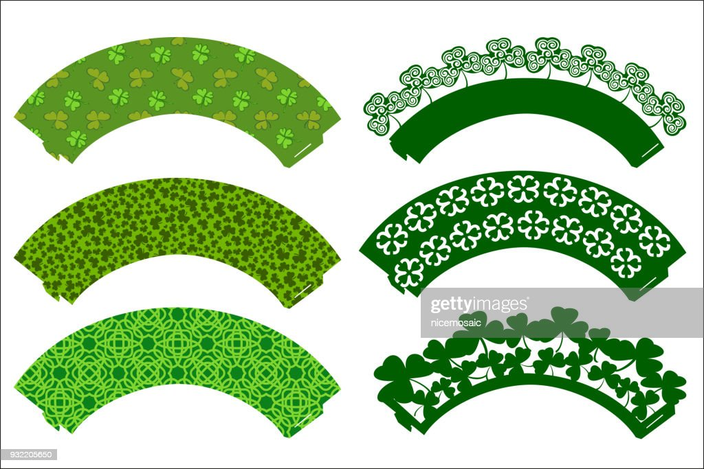 Vector set of Party Cupcake Decorations for St. Patrick's Day. Cake wrapper templates with clovers. Print and cut. Digital Die Cutting and printable pattern party supplies.