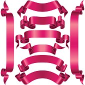 Vector set of Pink Banner Ribbon