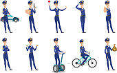 Vector set of police woman characters