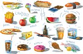 Vector set of polygonal food and drink illustration