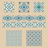 Vector set of Portuguese tiles and borders. Collection of colored patterns for design and fashion