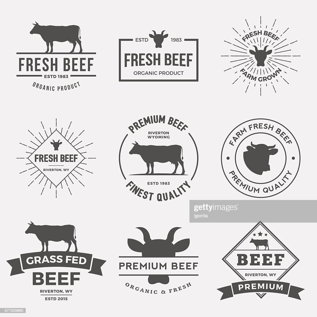 vector set of premium beef labels, badges and design elements.