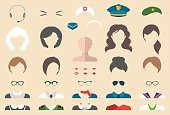 Vector set of professions dress up constructor with different woman occupation,lips etc.Female professions icon creator.