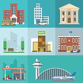 Vector set of public buildings