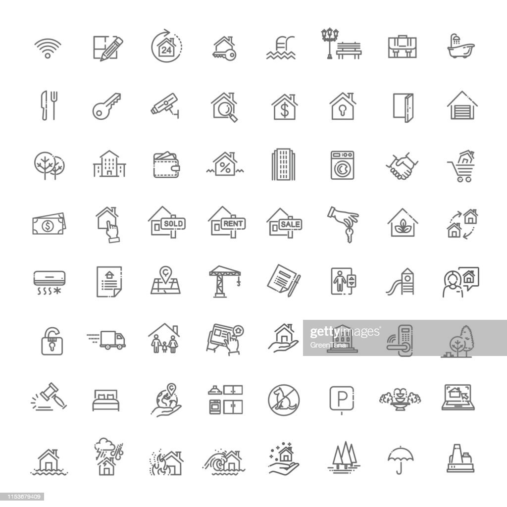 Vector Set der Immobilien verwandte Vector Line Icons : Stock-Illustration