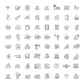 Vector Set of Real Estate Related Vector Line Icons