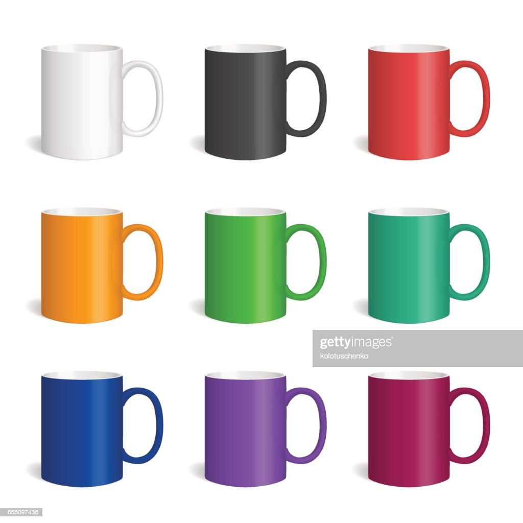 Vector set of realistic colored cearmic mugs.