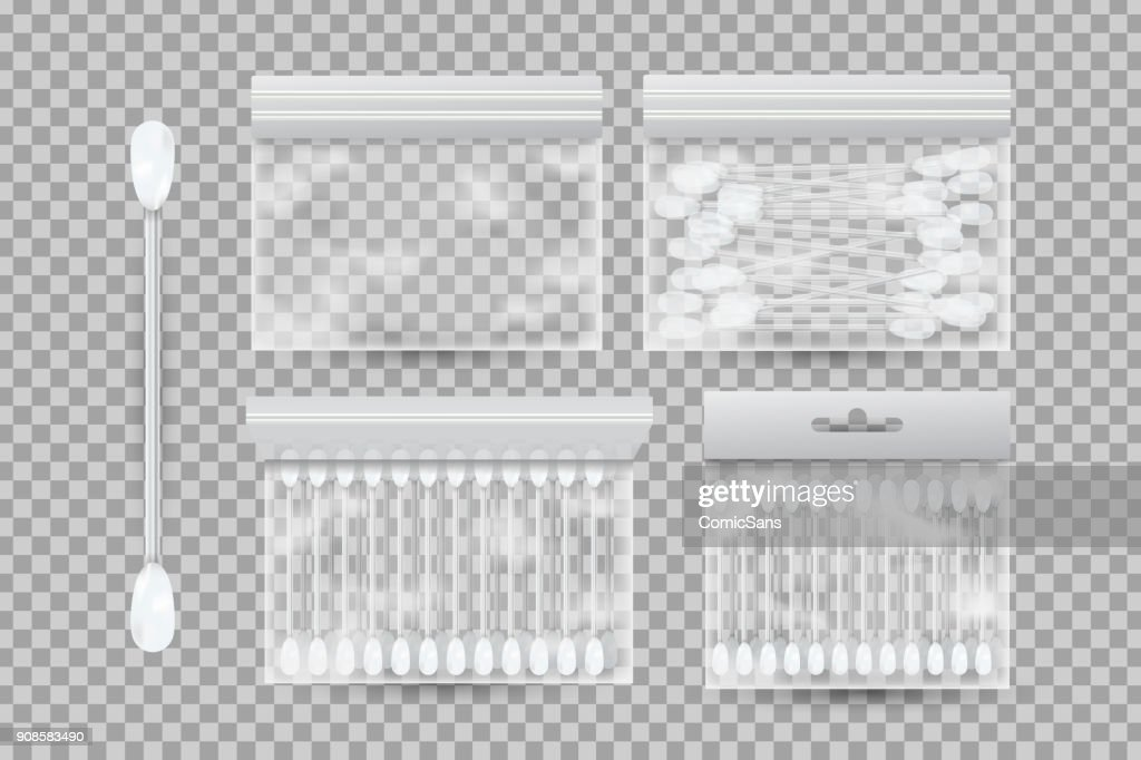 Vector set of realistic cotton buds for ears on the transparent background.