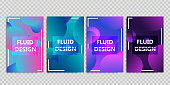 Vector set of realistic isolated brochures with geometric gradient fluid liquid shapes for decoration and covering on the transparent background.
