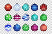 Vector set of realistic isolated Christmas balls for decoration and covering on the transparent background. Concept of Merry Christmas and Happy New Year.