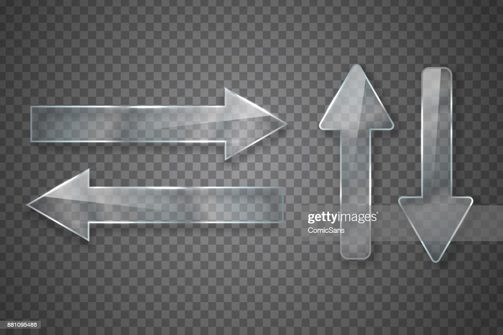 Vector set of realistic isolated glass arrows for decoration and covering on the transparent background.