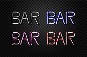 Vector set of realistic isolated neon sign of Bar lettering for decoration and covering on the transparent background. Concept of night club.