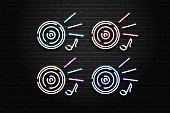 Vector set of realistic isolated neon sign of dj logo with vinyl for decoration and covering on the wall background. Concept of music, dj and live concert.