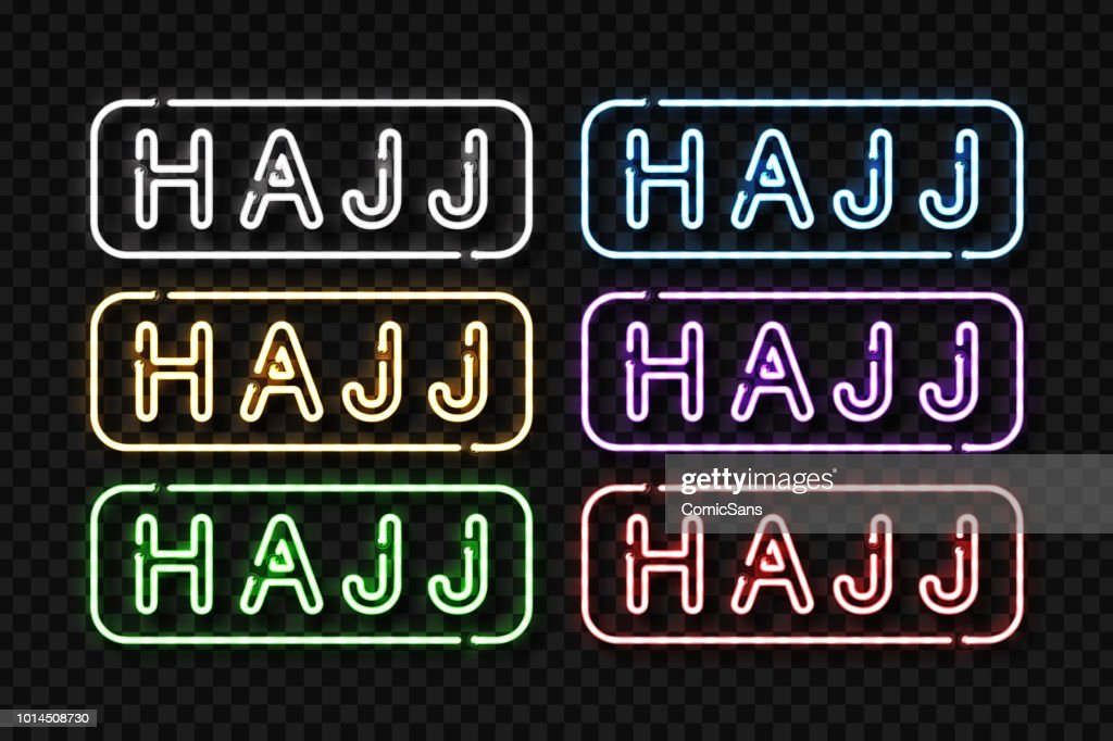 Vector set of realistic isolated neon sign of Hajj symbol with different color for decoration and covering on the transparent background.