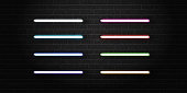 Vector set of realistic isolated neon sign tubes for decoration and covering on the wall background.