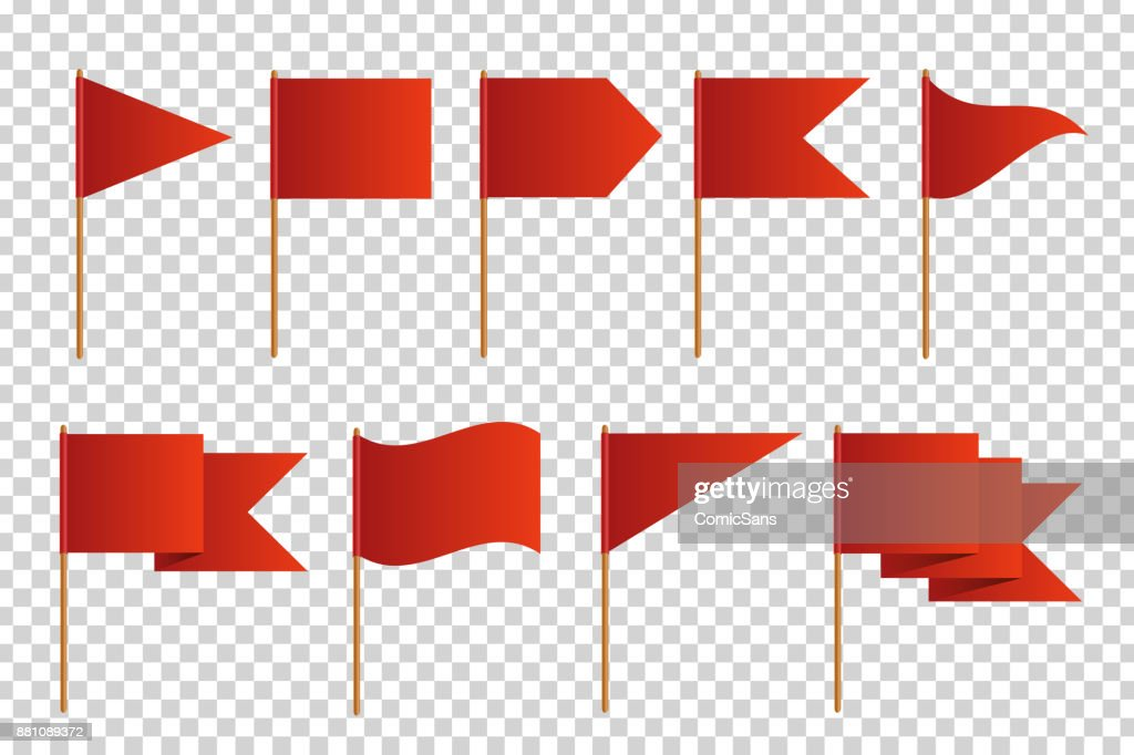Vector set of realistic isolated red flags for decoration and covering on the transparent background. Concept of pointer, tag and important sign.