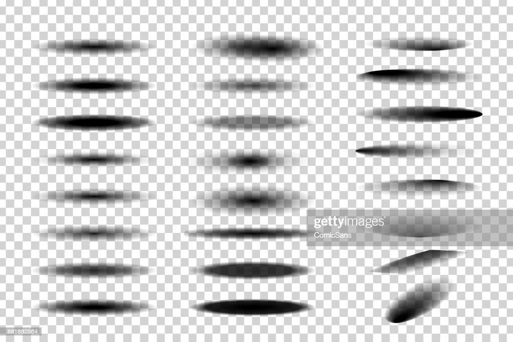 Vector set of realistic isolated round and oval shadows for decoration and covering on the transparent background.