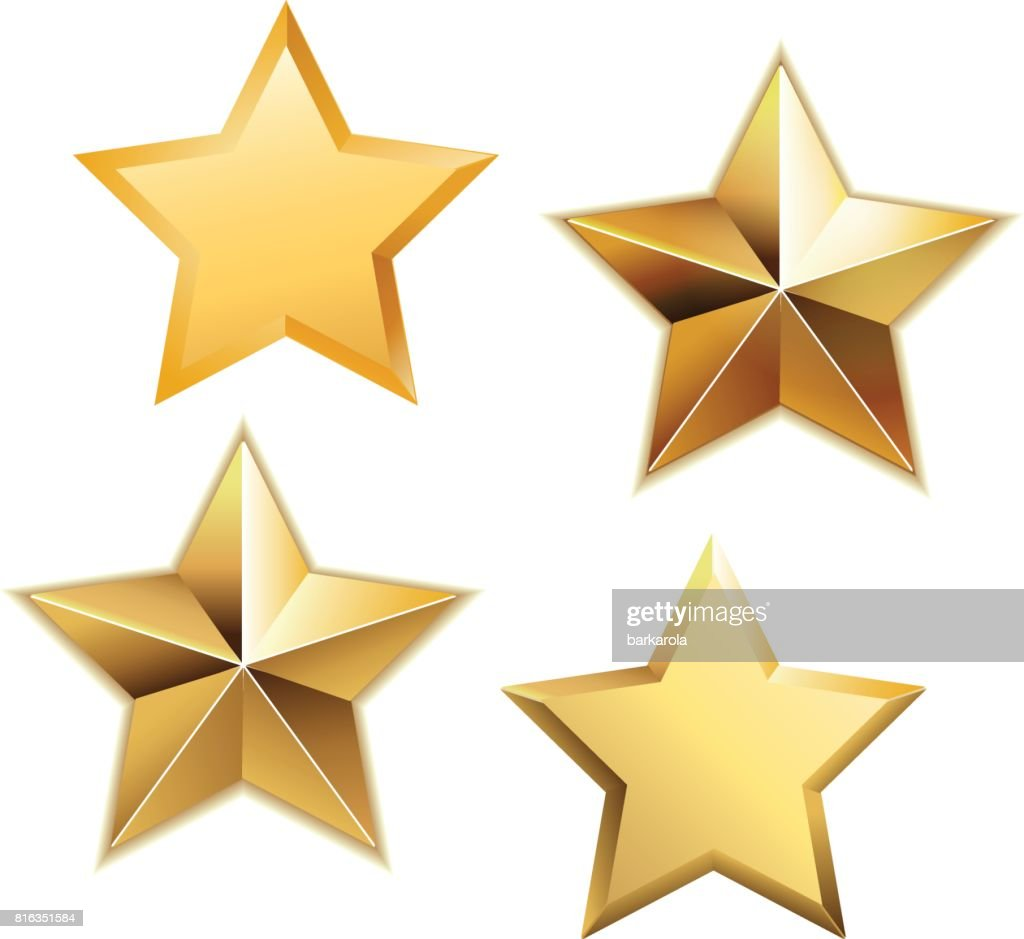 Vector set of realistic metallic golden stars isolated on white background.