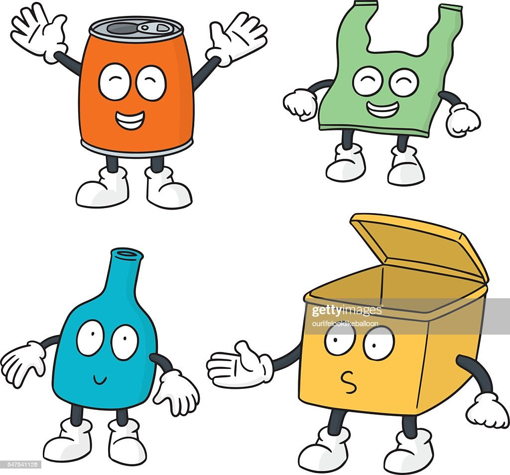 vector set of recycle garbage cartoon