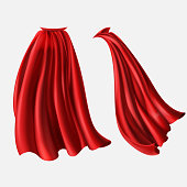 Vector set of red cloaks, flowing silk fabrics