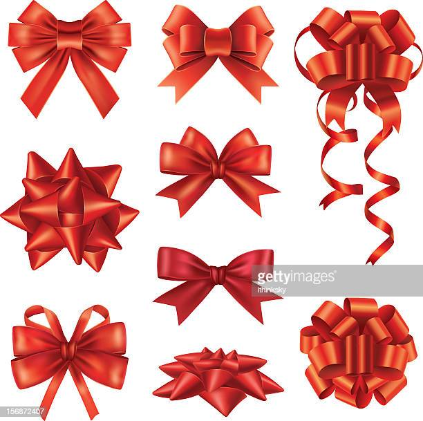 vector set of red gift bow - christmas paper stock illustrations