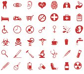 Vector set of red medical icons