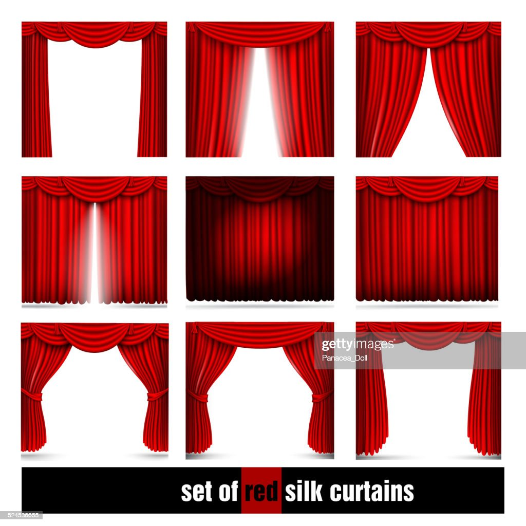 vector set of red silk curtains with light and shadows