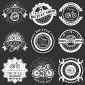 Vector set of retro bike shop repair labels badges