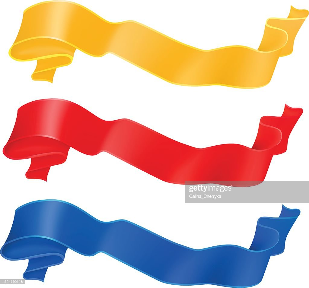 Vector set of ribbons in red, golden and blue colors