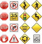 vector set of road signs