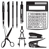 Vector set of school and office supplies