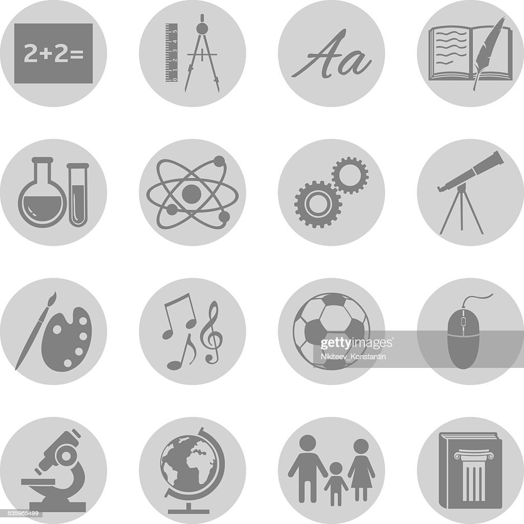Vector Set of  School Subjects Icons. : Vector Art