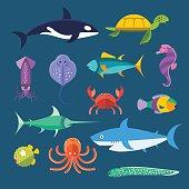 Vector set of sea marine fish and animals