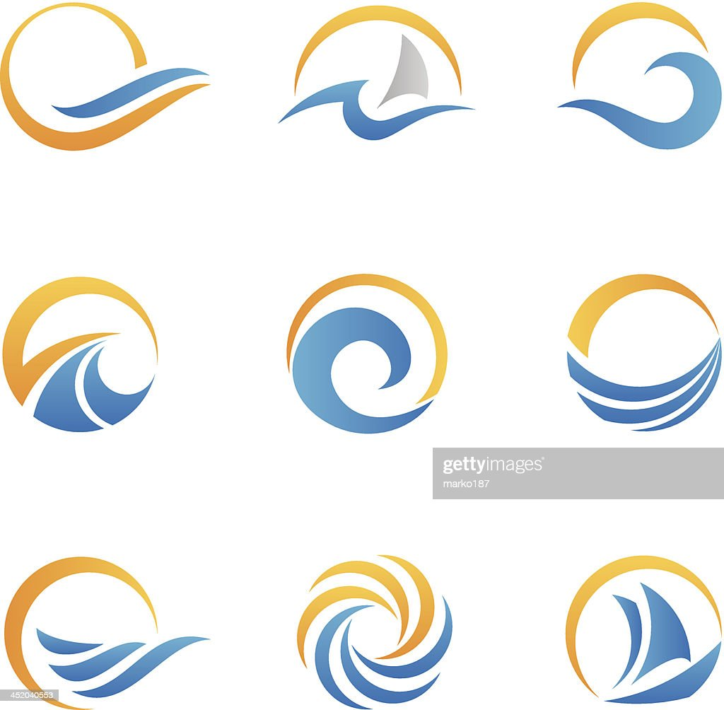 Vector set of sea symbol icons