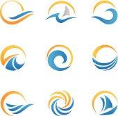Vector set of sea symbol icons