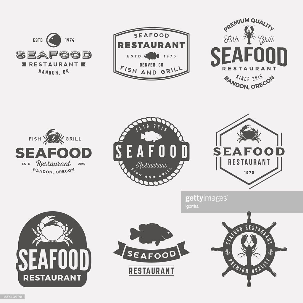 vector set of seafood restaurant vintage logos, emblems, silhoue