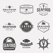 vector set of seafood restaurant vintage logos, emblems, silhoue