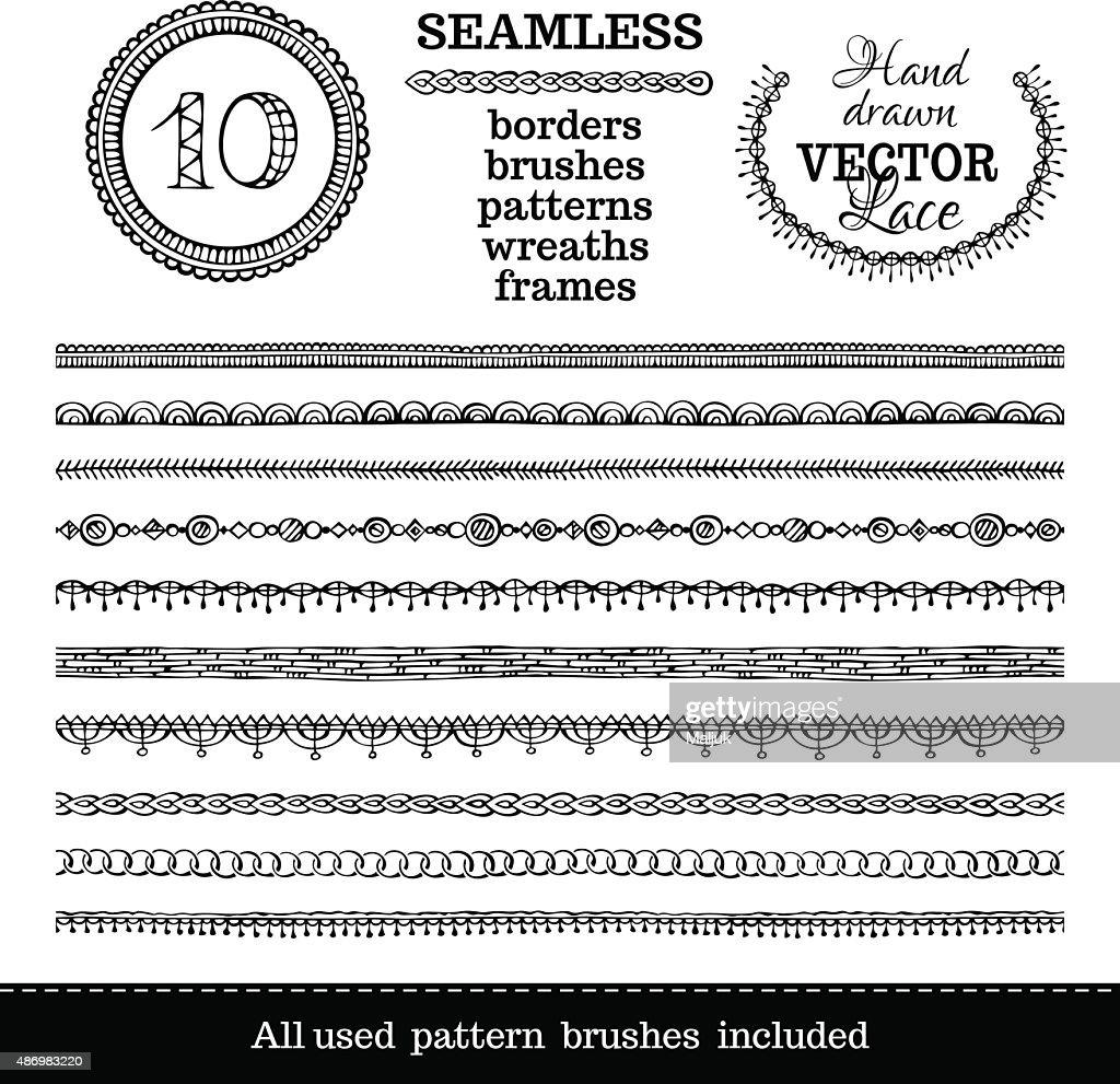 Vector set of seamless hand-drawn ethnic borders.