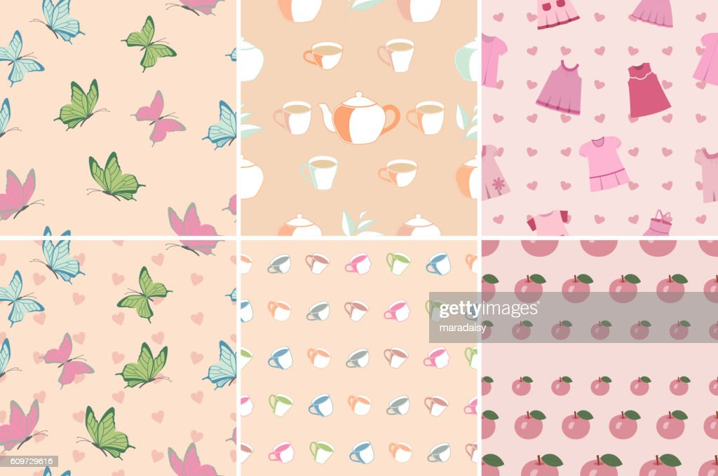 Vector set of seamless patterns in pink.