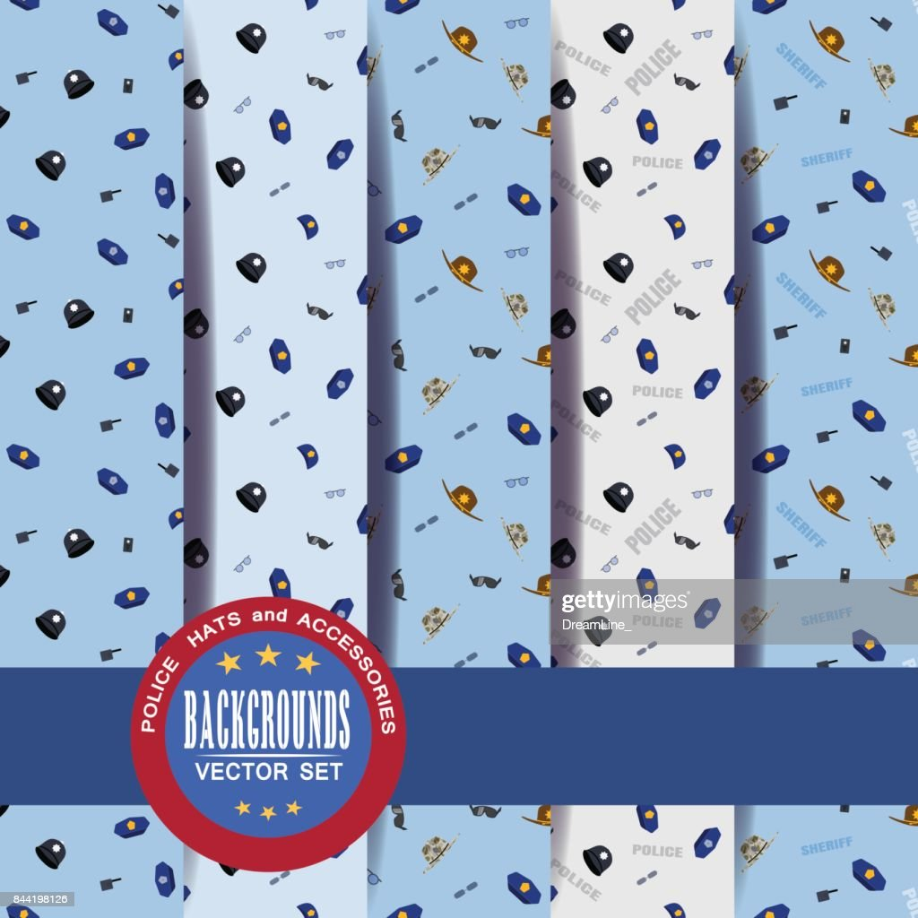 129a73fd2da Vector Set Of Seamless Patterns Of Police Hats And Accessories With ...