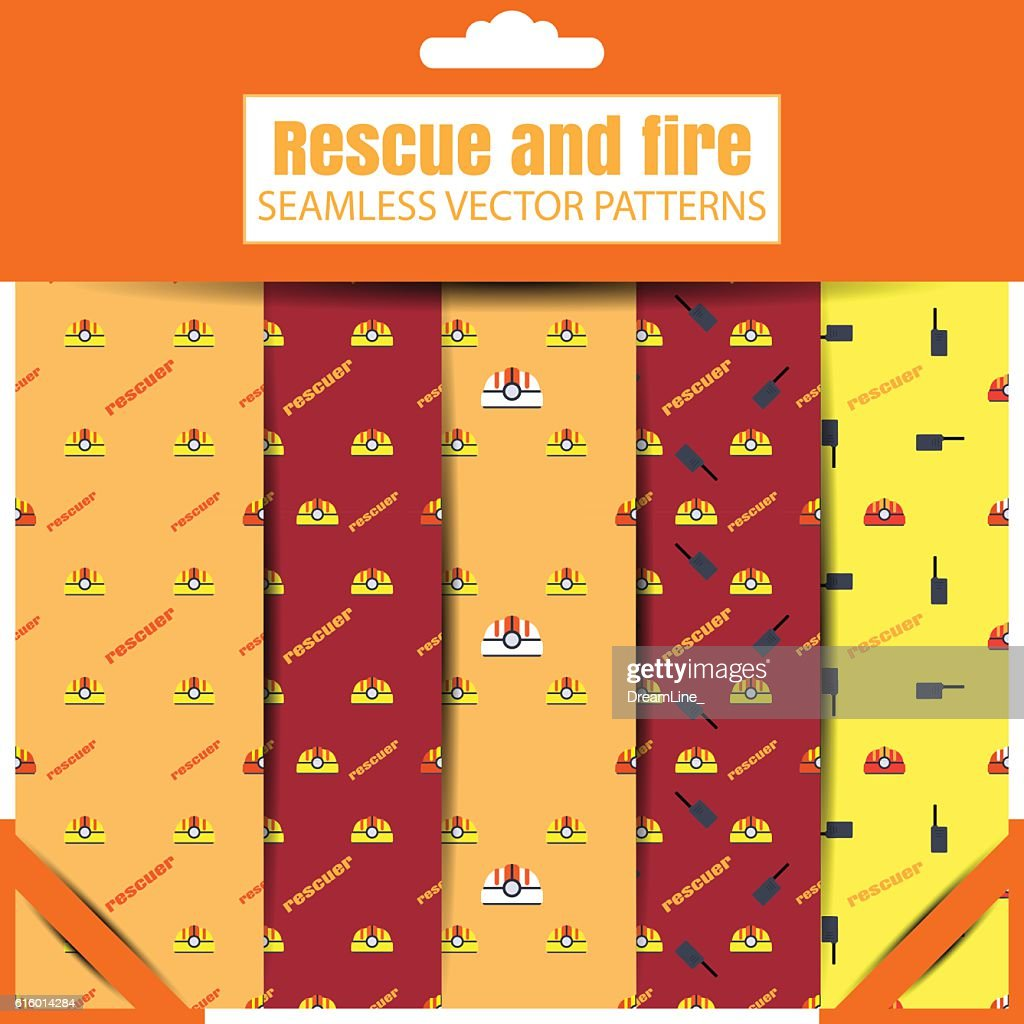 Vector set of seamless patterns of Rescue and fire in
