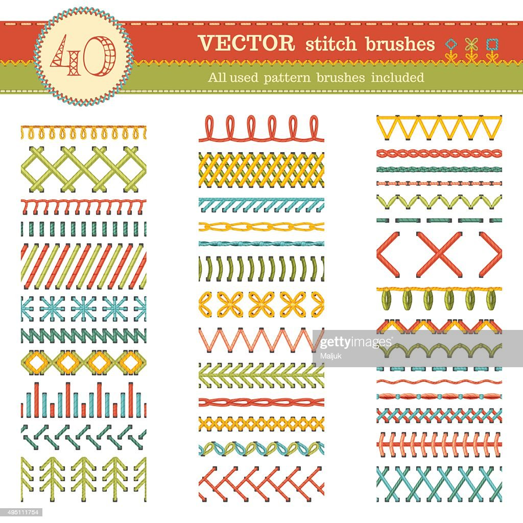 Vector set of seamless stitch brushes.