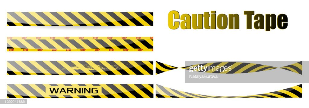 Vector set of seamless tapes. For restriction and dangerous zones. Yellow and black. eps10