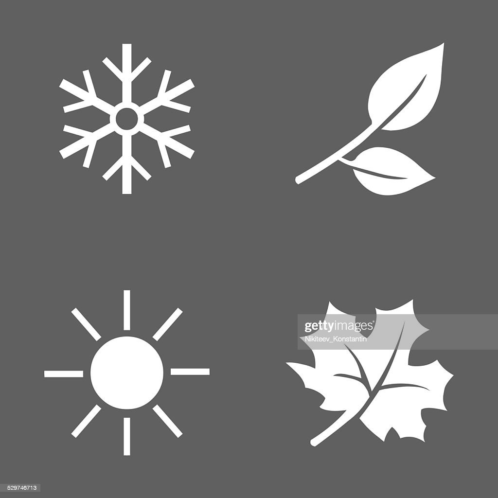 Vector Set of Seasons Icons.