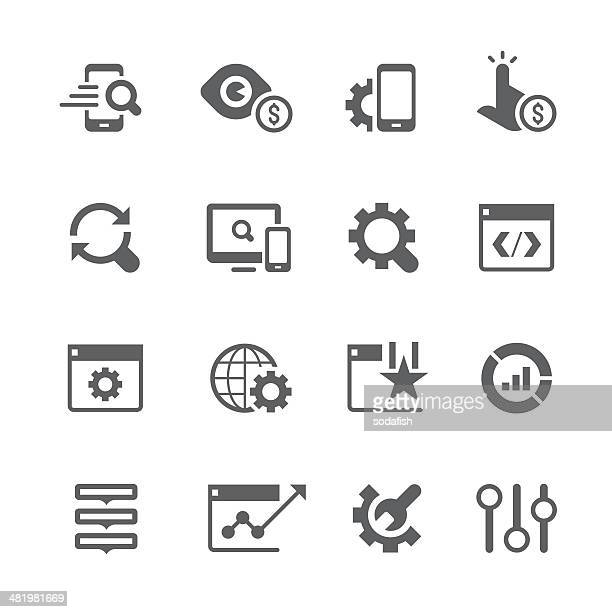 Vector set of SEO services icons