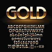 Vector set of shiny golden letters, symbols and numbers