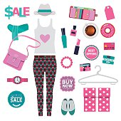 vector set of shopping in city