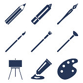 Vector Set of Silhouette Art Icons. Painting and Writing Tools