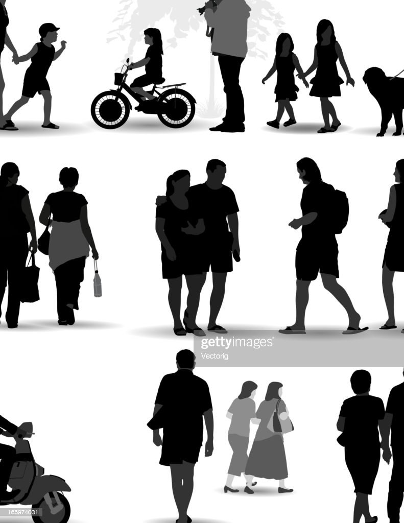 Vector set of silhouetted people on the move