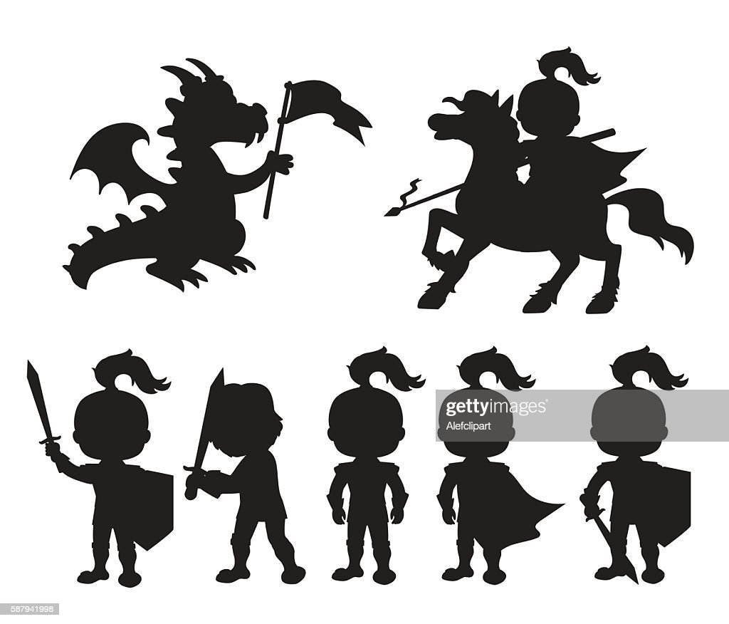Vector set of silhouettes cute little knights .